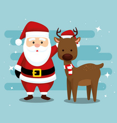 santa claus and deer with hat and scarf vector image