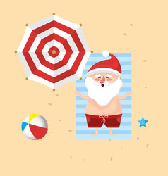 santa claus in the summer holiday vacation vector image