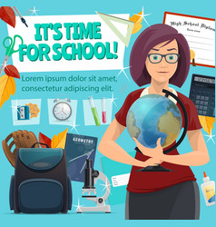 School time poster teacher and study stationery vector