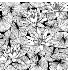 seamless pattern with water lilies black and vector image