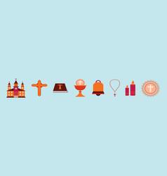 Set eucharist cartoon icon design template vector