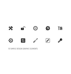 Set of 10 editable service icons includes symbols vector