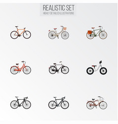 set of bicycle realistic symbols with dutch vector image
