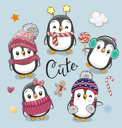 set of cute cartoon christmas penguins vector image