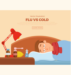 Sick guy in bed with the symptoms of cold flu vector