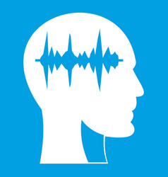 Sound wave icon white vector