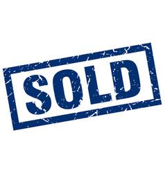 Square grunge blue sold stamp vector