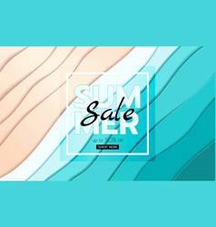 summer banner sale top view blue sea and beach vector image