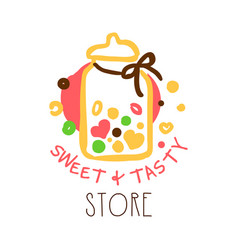 Sweet and tasty store logo colorful hand drawn vector