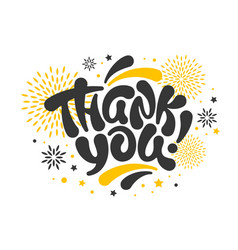 thank you card with lettering vector image
