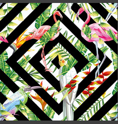 tropical birds leaves seamless geometric vector image