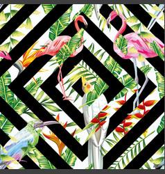 Tropical birds leaves seamless geometric vector