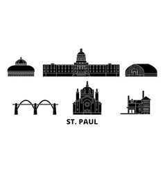 United states st paul flat travel skyline set vector