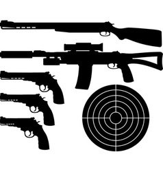 weapons silhouettes and target vector image