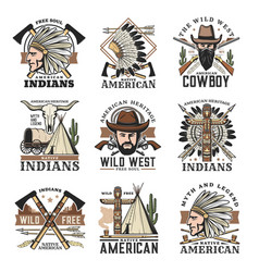 wild west isolated icons set vintage signs vector image
