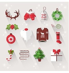 Winter elements with long shadows for Christmas vector image