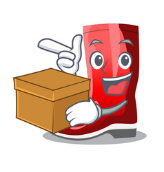 With box single of boots isolated on mascot vector