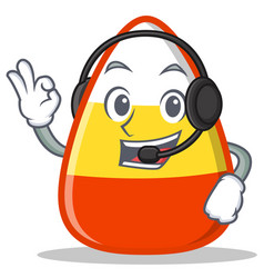 With headphone candy corn character cartoon vector