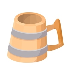 Wooden mug with beer cartoon icon vector image