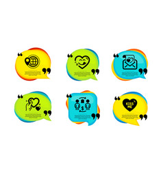 Yummy smile world travel and hold heart icons set vector