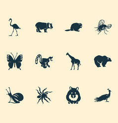 Zoo icons set with hamster spider butterfly and vector