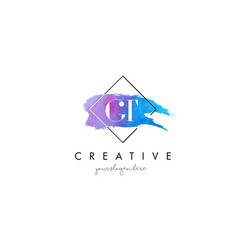 gt artistic watercolor letter brush logo vector image vector image