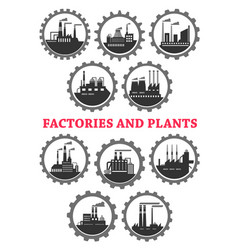 industrial icons of factory industry plants vector image