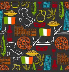 Italy seamless pattern italian symbols and vector