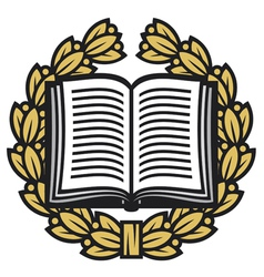 open book and laurel wreath-book emblem vector image