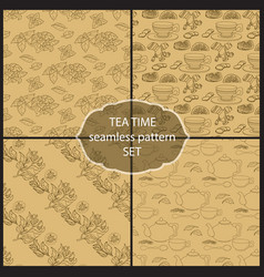 set tea time seamless pattern of the doodle leave vector image vector image