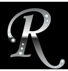 silver metallic letter R vector image vector image