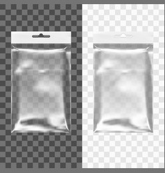 transparent blank plastic bag with hang slot vector image vector image