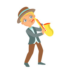 boy playing jazz on saxophone kid performing on vector image vector image