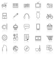 Hobby line icons with reflect on white vector image vector image