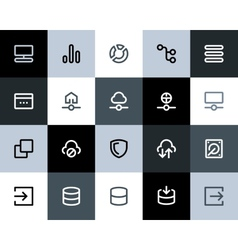 Hosting and wireless network icons Flat vector image