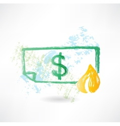 Paper dollar in fire grunge icon vector image vector image