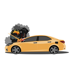 the broken car is covered with fire and smoke vector image