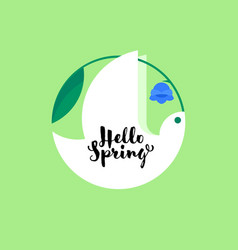 white bird with bluebell flower spring lettering vector image vector image