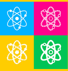 atom sign four styles of icon on vector image vector image