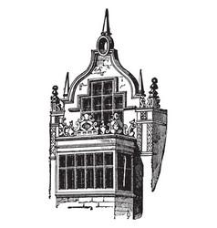 Elizabethian window in rushton hall vintage vector
