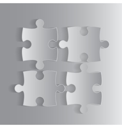 Four Grey Piece Puzzle Round Infographic 4 Step vector image vector image