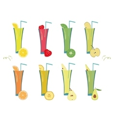 Fruit and berry smoothie set vector image