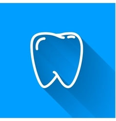Human teeth simple white icon with long shadow on vector image vector image