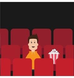 Cartoon boy sitting in movie theater Film show vector image