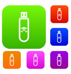 Infected usb flash drive set collection vector