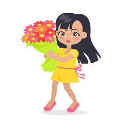 smiling girl with colourful bouquet of flowers vector image