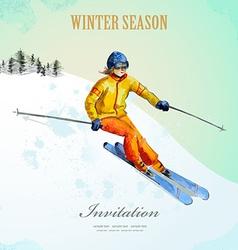 Winter sport fashion girl skier watercolor vintage vector image
