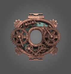 0 rusted letter with gears vector