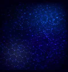 Abstract cosmos background with a grid of hexagons vector