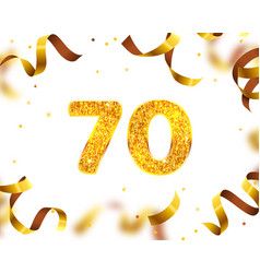 anniversary banner 70th gold ribbon fly vector image